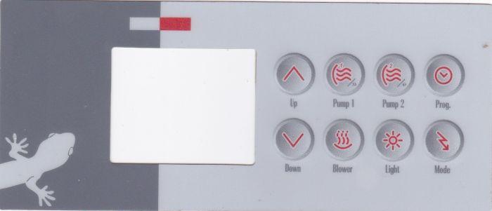 Sticker voor Gecko display type TSC4 met 8 knoppen