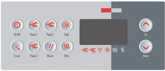 Overlay of sticker voor het display van Gecko TSC-8 met 10 knoppen