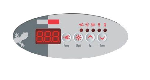 Overlay of sticker voor het display van Gecko TSC-9 (K-9) met 4 knoppen - 1 pomp