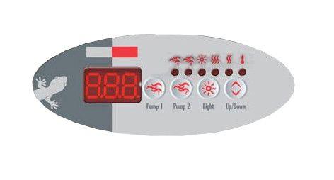 Overlay of sticker voor het display van Gecko TSC-9 (K-9) met 4 knoppen - 2 pompen