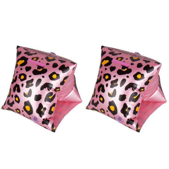 Zwembandjes voor kinderen van 2 - 6 jaar panterprint roze
