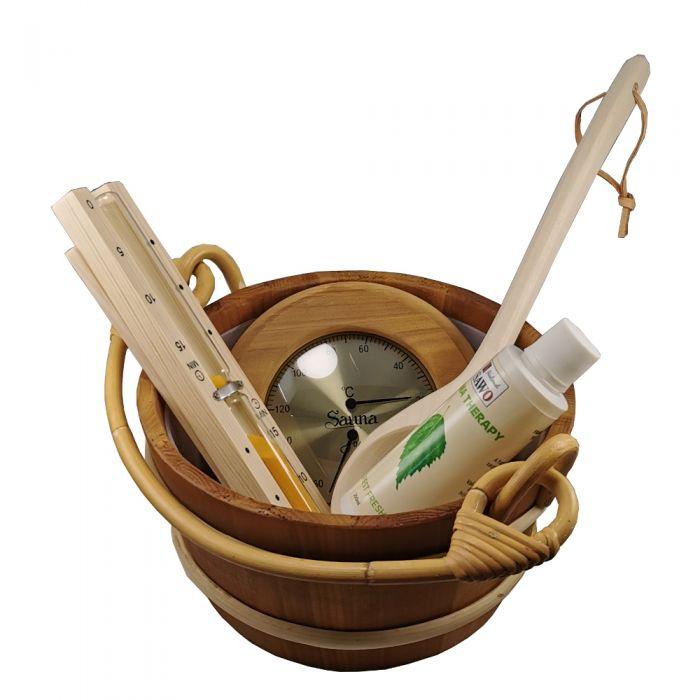 Luxe sauna accessoireset 5 delige set inclusief emmer, lepel, zandloper en thermo/hygrometer