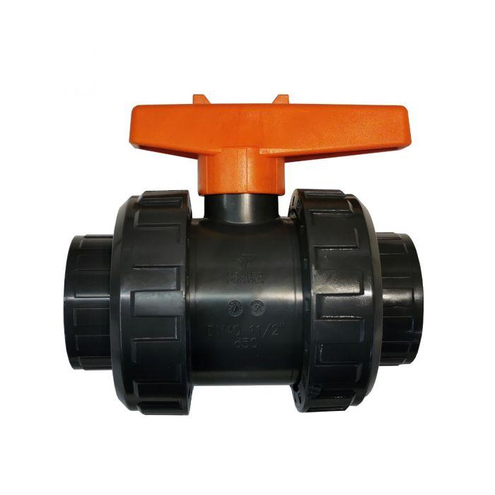 Kogelkraan, afsluiter voor spa leidingwerk van 1,5 inch PVC (ca. 48mm.)