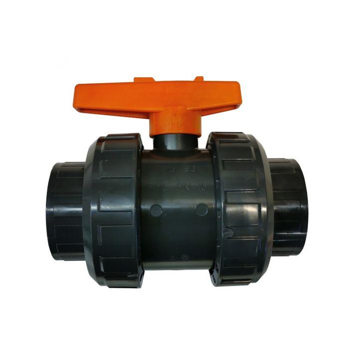Kogelkraan, regelklep, afsluiter voor spa leidingwerk van 2 inch (ca. 60mm.)
